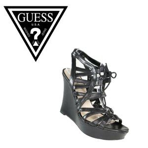 Guess Caged Strappy Wedge Sandals - Size 10